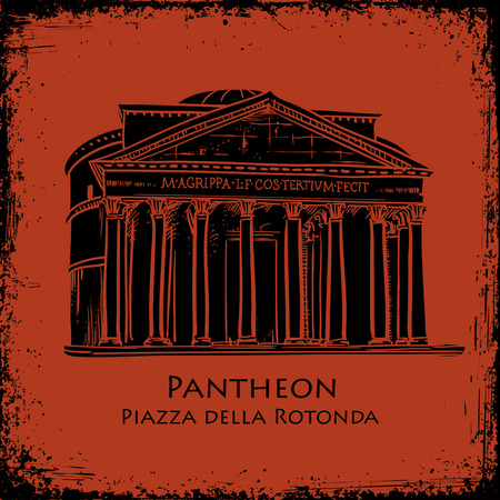 pantheon: Italian landmark Pantheon in Rome, Italy. Black silhouette Pantheon hand drawn vector illustration in the style of ancient vase painting background. Rome famous building hand drawn vector illustration.
