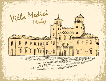 villa: Rome famous building hand drawn vector illustration. Italian landmark Villa Medici isolated ink sketch on old paper. and grunge texture.