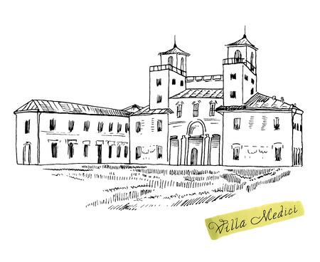 building sketch: Rome famous building hand drawn vector illustration. Italian landmark Villa Medici isolated ink sketch.