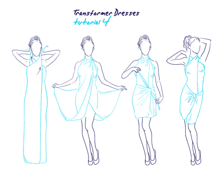 Transformer dresses women clothes and accessories, hand drawn sketch instruction how to wear a universal dress tutorial Illustration