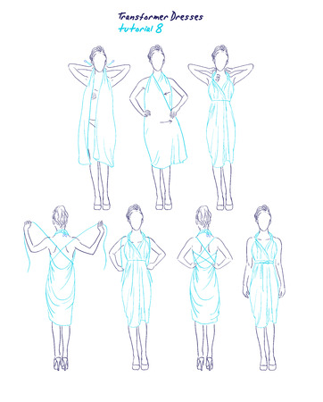 hand wear: Transformer dresses women clothes and accessories, hand drawn sketch instruction how to wear a universal dress tutorial Illustration