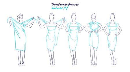 vestidos de las mujeres del transformador de ropa y accesorios, dibujado instrucción de dibujo a mano la forma de llevar un tutorial vestido universales