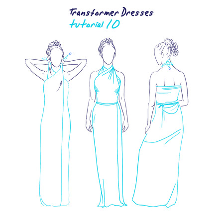 instruction: Transformer dresses women clothes and accessories, hand drawn sketch instruction how to wear a universal dress tutorial Illustration