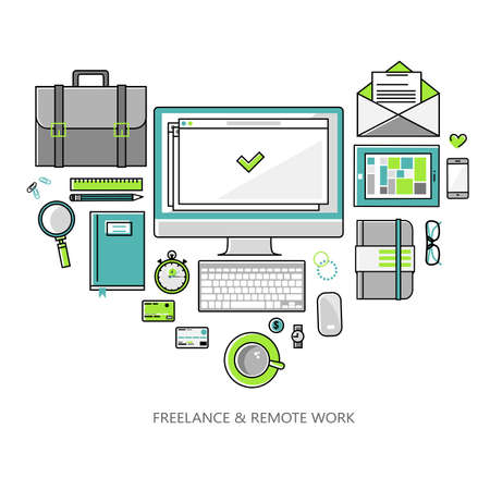 remote view: Freelance and remote work - illustration linear flat style color. Workplace outsorse worker, designer, manager of a top view