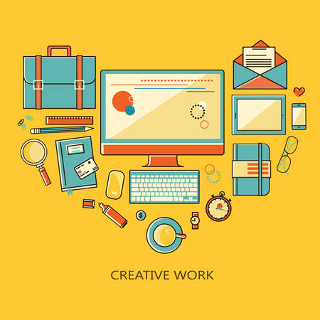 designer at work: Freelance and remote creative work - illustration linear flat style color. Workplace outsorse worker, designer, manager of a top view