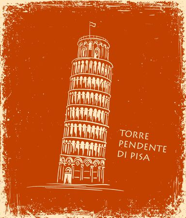 Italian landmark Piza Tower , Italy. Black silhouette Pisa illustration in the style of ancient vase painting background. Italian famous building  illustration, travel concept