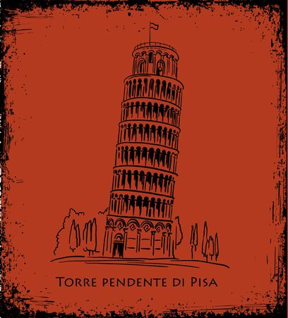 famous painting: Italian landmark Piza Tower , Italy. Black silhouette Pisa illustration in the style of ancient vase painting background. Italian famous building  illustration, travel concept
