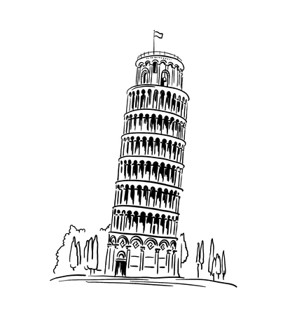 Italian landmark Piza Tower , Italy. illustration, travel concept
