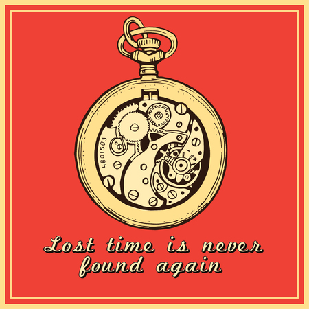 vintage watch clock sketch illustration.  The quote about the time Stock Illustratie