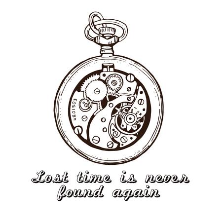reloj ilustración boceto reloj de época. La cita sobre el tiempo