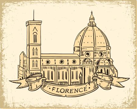 santa maria del fiore: Santa Maria del Fiore, Florence Italian landmark iilustration vintage style