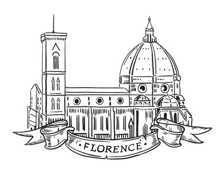 Santa Maria del Fiore, Florence Italian landmark iilustration