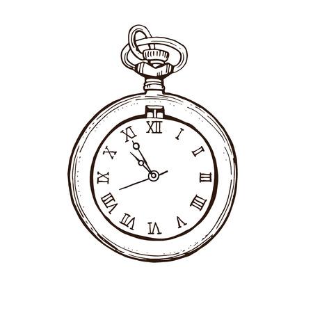 Reloj de bolsillo abierto en estilo vintage. Dibujado a mano dibujo a tinta ilustración vectorial aislado sobre fondo blanco. Ilustración de vector