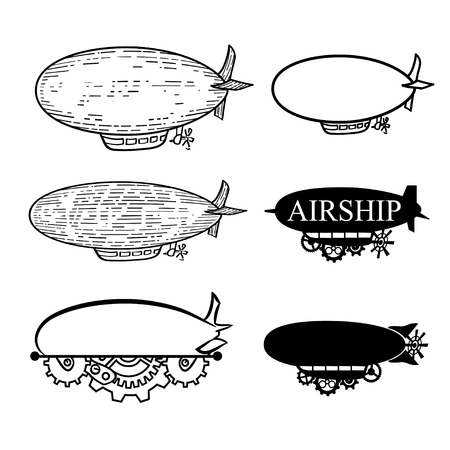 dirigible: Vector steampunk set stylized fantastic airship with a place for the text.  Black silhouette dirigible template labels isolated on white background Illustration
