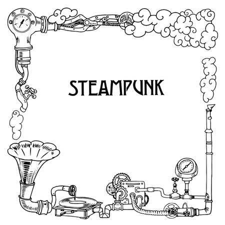 Steampunk frame with industrial machines gears chains, gramophone and technical elements, illustration