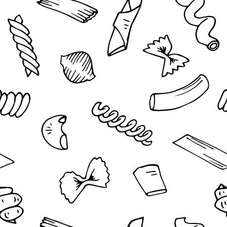 イタリアのパスタのシームレスなパターン ベクトルのスケッチ。手には、パスタのベクトル図が描かれました。要素のセット デザインをイタリアの