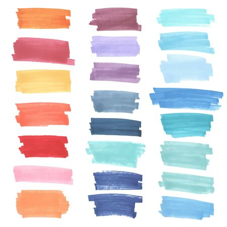 highlight: Color  highlight  stripes, banners drawn with japan markers. Stylish  highlight  elements for design. Vector  highlight  marker stroke, spots bright color Illustration