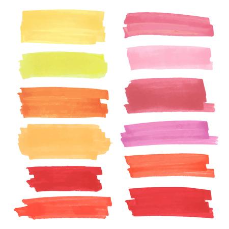 rayas color de realce, pancartas elaboradas con marcadores de Japón. elementos ponen de relieve con estilo para el diseño. Vector marcador de accidente cerebrovascular, manchas de color brillante