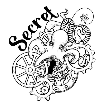 hairpin: The original illustration of Steampunk octopus with gears and mechanisms. Steampunk jewelry hairpin with gears and octopus. Print steampunk