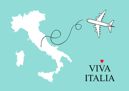 Italy map postcard design vector, Italy and Sicily map poster or card with plane outline on a blue background