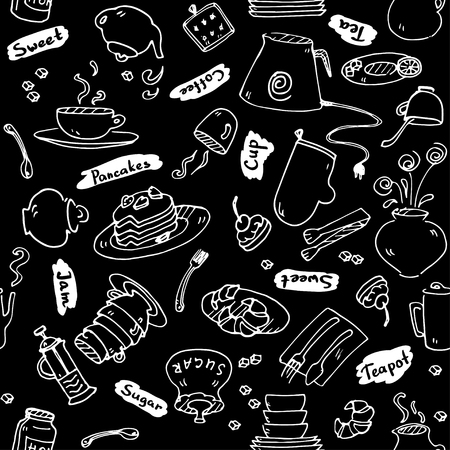 teaparty: Tea party kitchen tools seamless pattern  sketch black and white