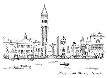 Piazza San Marco met Campanile en Dogenpaleis schets hand getekende vector illustratie. Venetië, Italië Stockfoto - 57486330