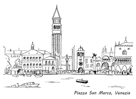 Piazza San Marco with Campanile and Doge Palace sketch hand drawn vector illustration. Venice, Italy
