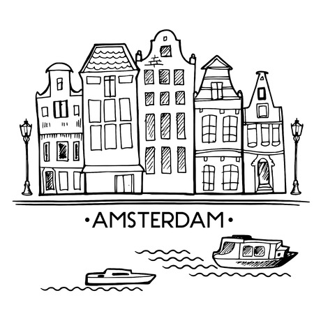 Background with hand drawn doodle Amsterdam houses. Postcard background in black and white. Illustration vector. Scandinavian city