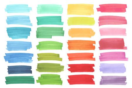 rayas color de realce, pancartas elaboradas con marcadores de Japón. elementos ponen de relieve con estilo para el diseño. destacado vector marcador accidente cerebrovascular, manchas de color brillante Ilustración de vector