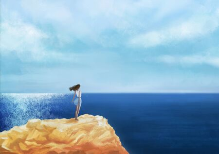 relaxed: Romantic  Girl standing on the rock by the peaceful sea at sunset digital art. Woman in casual clothes standing on the rocks by the sea looking out over the ocean original illustration
