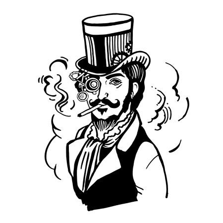 Steampunk man in hoge hoed en een bril met de baard en snor en een rokende sigaret