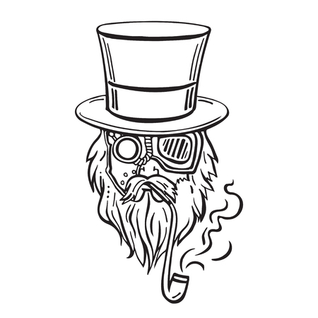black head and moustache: Steampunk old man in top hat and glasses with the beard and moustache and a smoking pipe