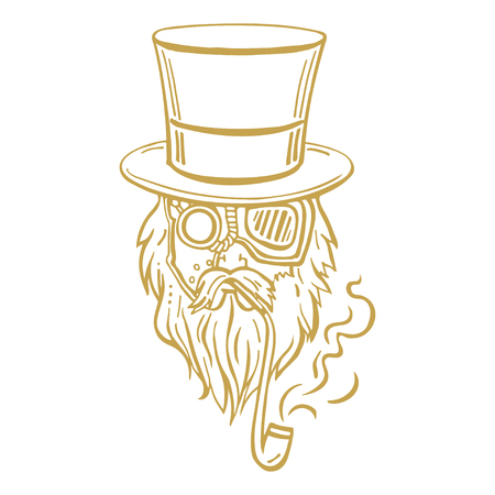 oldman: Steampunk old man in top hat and glasses with the beard and moustache and a smoking pipe