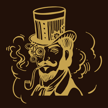 Steampunk man in top hat and glasses with the beard and moustache and a smoking pipe Illustration