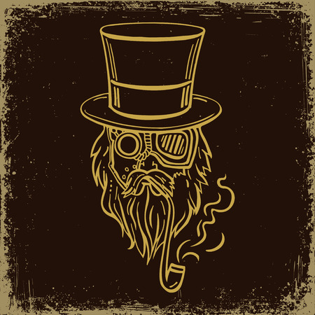 old man portrait: Steampunk old man in top hat and glasses with the beard and moustache and a smoking pipe