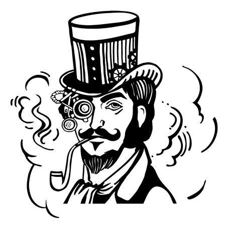 black head and moustache: Steampunk man in top hat and glasses with the beard and moustache and a smoking pipe Illustration