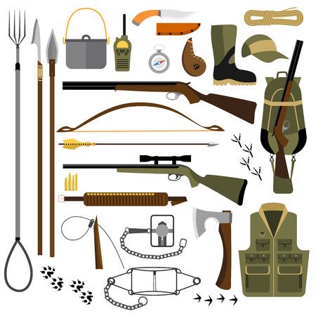 botas altas: Ilustración plana de artes de pesca de caza, trampas y armas, senderismo y equipo de supervivencia