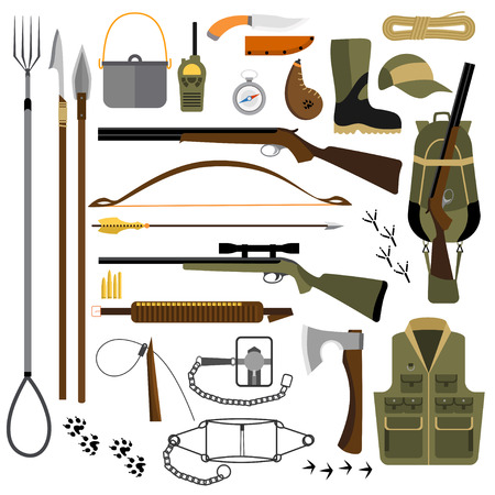 flat illustration of hunting fishing gear, traps and weapons, hiking and survival equipment