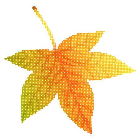 sycamore leaf: Maple leaf illustration, illustration with beautiful autumn sycamore leaf halftone isolated on white background Illustration