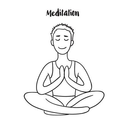 meditates: Young Man meditates in the Lotus position. Calm pose, mental balance, harmony, spirituality energy, body exercise sitting. Linear outline illustration. Illustration