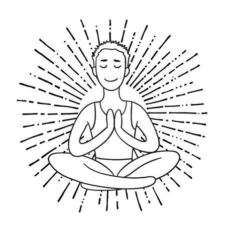 energy balance: Young Man meditates in the Lotus position. Calm pose, mental balance, harmony, spirituality energy, body exercise sitting. Linear outline illustration. Illustration