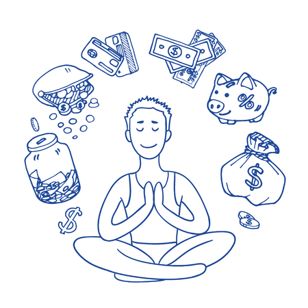 sitting meditation: Financial yoga. Businessman meditating on money. Man sitting on lotus position. Enlightenment and meditation. Achieving wealth. dollar symbol