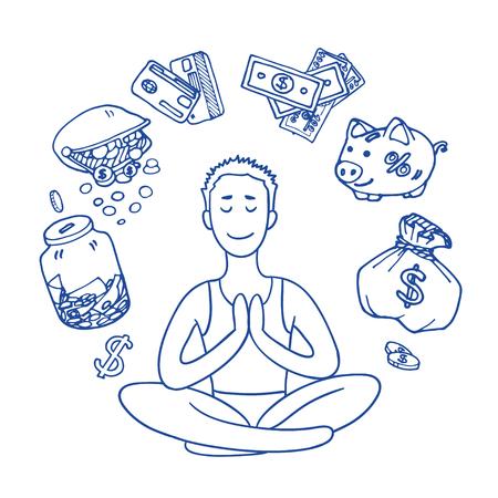 achieving: Financial yoga. Businessman meditating on money. Man sitting on lotus position. Enlightenment and meditation. Achieving wealth. dollar symbol