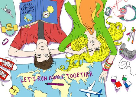 away travel: Young couple family plans dreams wishes happy travel. Portrait of young beautiful man and woman. Colorful illustration. Hand drawn sketch bright color. Lets run away together Stock Photo
