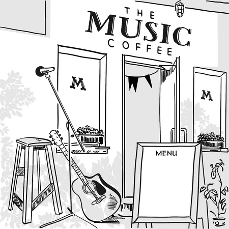 stage door: Poster for a music cafe, coffee shop front and a stage for live music with a guitar outdoors. Vector illustration of black and white. Coffee shop out-of-home media Illustration