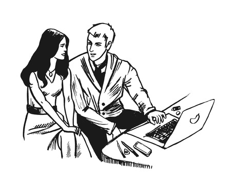 Young Business man and woman working together with notebook. Sketch hand drawn style vector Illustration