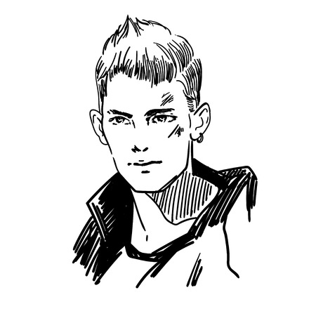 Vector single sketch young male face.