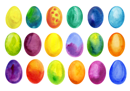 Easter eggs set watercolor template for design. Watercolour illustration for Easter holidays design on white background.