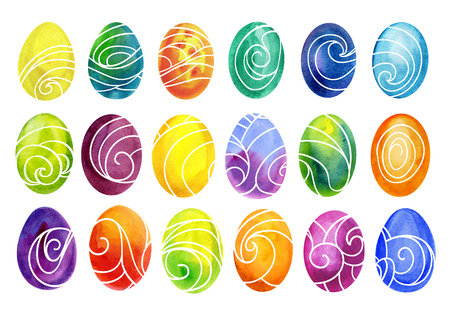 circl: Easter eggs set watercolor template for design. Watercolour illustration for Easter holidays design on white background.
