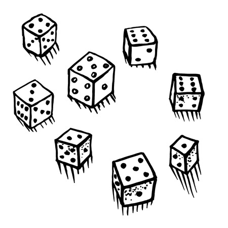 backgammon: Vector illustration of dice on the white background sketch